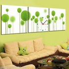 FRAMED Abstract Green Plant Modern Decor Wall Clock On Canvas Prints Set Of 3