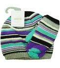 Kids Multi Colour Stripe Knitted Beanie Hat with Mitten 0-3Y