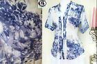 LADIES FLORAL COLLAR SHIRTS FRILL BLOUSE LONG SLEEVES TUNIC TOP FLOWER VTG RETRO