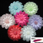 "(U Pick) 35 Pcs 1-5/8"" Organza Flower With Beads Appliques F8500"