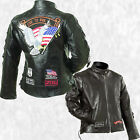 Women Black Leather  Live to Ride Motorcycle Jacket Coat with Biker Patches
