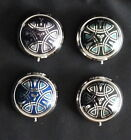 SUPERB CELTIC TRINITY AND COILS ENAMEL PILL BOX BY SEA GEMS - BOXED