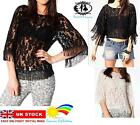 VINTAGE BOHO FRINGE LACE TOP FLOWER WOMAN BLOUSE TASSEL VEST CROCHET DRESS SHIRT
