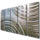 Silver Modern Metal Wall Art - Neutral Hanging Art for Home or Office - WOW!