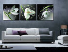 White Lilies  Unique Wall Clock On Quality Canvas Set Of 3 FRAMED