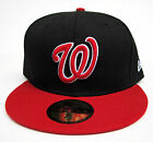 Washington Nationals Black On Red All Sizes Fitted Cap Hat by New Era