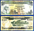 7auritius 200 Rupees 1985 Prefix A 8 Maurice Free Shipping Worldwide Skrill Ppal