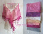 Triangle Floral Lace Mesh Fringe Neck Scarf Stole Triangular Shawl