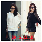 UK Shop Womens Stylish Loose Baggy Batwing Lace Long Sleeved Top / T-Shirt