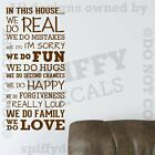 IN THIS HOUSE FAMILY WE DO LOVE FUN REAL V3 Quote Vinyl Wall Decal Decor Sticker