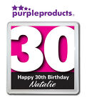 PERSONALISED 30th BIRTHDAY DRINKS COASTER GIFT/PRESENT IN 6 COLOURS
