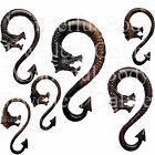 1 x S-Long Spiral Ebony Wood Dragon Ear Plug Choice of Size 8G-00G 3mm-10mm