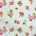 ROSEBUD WHITE PVC COTTON OILCLOTH WIPE CLEAN TABLECLOTH CO click for sizes