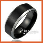 TUNGSTEN Carbide BLACK SILVER 8MM MENS ANNIVERSARY WEDDING BAND SOLID RING GIFT