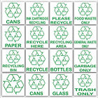 Recycling Stickers-Recycle Logo Paper Plastic Cans Bottles Glass-Waste Bin Signs