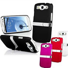 NEW STYLISH GRIP CHROME HARD CASE WITH STAND FITS SAMSUNG GALAXY S3 i9300