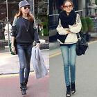 Women Lace Shoulder Blouse Long Sleeve Tee Top Shirt Autumn Winter Casual  Y253A