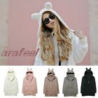 Teddy Bear Ear zip hood Coat JACKET top bomber CARDIGAN KNIT Parka Fur blazer