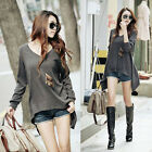 Women Loose long Sleeve Blouse Tops Asymmetrical Casual Autumn Tee Shirt Y425