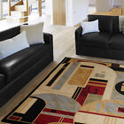 Ivory Black Tan Beige Abstract Shape Modern Area Rug Contemporary Circles Carpet