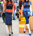 Formal New Women Striped Casual Pencil A Wear to Work Business Summer Dress Y463