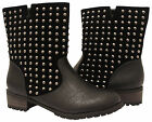 Ladies Mid Calf Flat Heel Riding Biker Suede Ankle Boots Women Studded Shoes 3-8