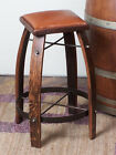 """NEW AUTHENTIC REAL WINE BARREL STAVE STOOL LEATHER TOP CHOOSE 24"""" 28"""" 30"""" 32"""""""