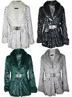 New Womens Ladies Button Warm Faux Fur Belted Long Jacket Coat Size 10 12 14 16