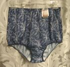 VANITY FAIR PERFECTLY YOURS NAVY LEAVES 15712/15812 SATIN BRIEFS PANTIES~7/L~NEW