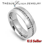 mens stainless steel silver clear cz wedding band ring size 7 8 9 10 11 12 13