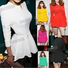 Fashion Women Sexy Puff Long sleeves Fitted Solid Peplum Tunic tops Blouse N541