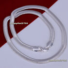 "2pcs New Fashion Solid Silver Plated 6mm Wide Flat Snake Chain Necklace 16""-24"""