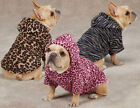 DOG Animal Print Cuddler Pet Hoodie Sweater Coat Casual Canine Leopard or Zebra