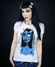 Restyle Corpse Bride Emily Burton Zombie Girl White Short Sleeved Tshirt Top