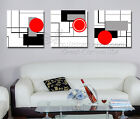 Abstract Circles & Sqaures Modern Wall Art Quality Canvas Set Choice Of Clock