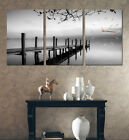 Pier In Peaceful Lake Black & White Or Sepia Choice Of Clock Canvas Print Set
