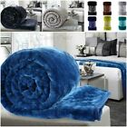 Soft Faux Fur Mink Throw Blanket Bedspread for Bed Sofa (Single, Double & King)