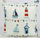 Clarke and Clarke Beach Huts Red & Blue cushion covers. 18 inch, 20 inch