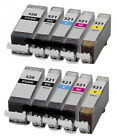 10 Non-OEM Canon PGI-520BK CLI-521 Black/ Cyan/ Magenta/ Yellow Ink Cartridges