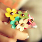 Fashion Sweet Cute Multicolor Daisy Ring Five Flower Ring