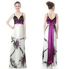 Water Colour Print V-neck Bowtie Evening Prom Gown 09085