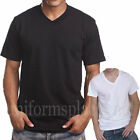 Mens V NECK T SHIRT Plain Solid Color Tee Top Short Sleeve BLACK WHITE 2X - 5X image