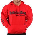 MENS COTTON BODYBUILDING CLOTHING HOODIE WORKOUT TOP RED IRON & PAIN LOGO GYM