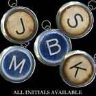 Initial Letter Monogram Typewriter Key Vtg Graphic Necklace Pendant/Charm STK