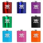 7oz Stainless Steel Hip Flask Heart Skull Bow