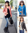 New Fashion Small Leather Short Paragraph Slim Jacket Round Neck Women Coat #D