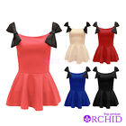 LADIES SHIFT FRILL SKATER BOW KNOT FRONT WOMENS PEPLUM BODYCON DRESS TOP 8-14