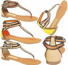 Ladies Summer Beach Toe Post Strappy Gladiator Sandals Women Flat Shoes Size 3-8
