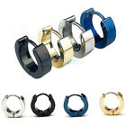 Mens Cool Stainless Steel Ear Studs Hoop Earrings Black Blue Silver Gold 1 Pair