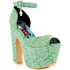 IRON FIST LADIES ISLAND VIBE SUPER PLATFORM HEELS GREEN ALL SIZES (R7A)